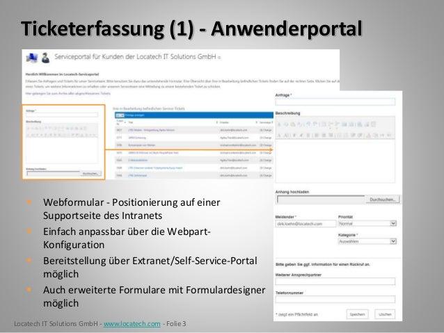 Locatech IT Solutions GmbH - www.locatech.com - Folie 3 Ticketerfassung (1) - Anwenderportal  Webformular - Positionierun...
