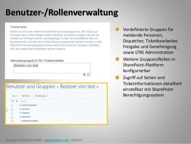 Locatech IT Solutions GmbH - www.locatech.com - Folie 35 Benutzer-/Rollenverwaltung Vordefinierte Gruppen für meldende Per...