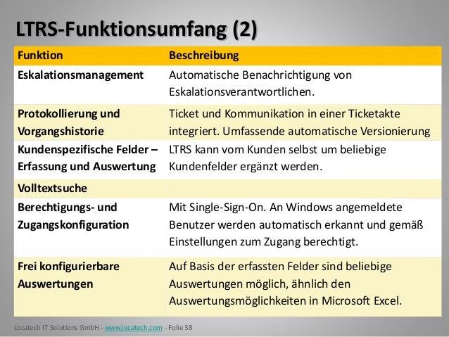 Locatech IT Solutions GmbH - www.locatech.com - Folie 38 LTRS-Funktionsumfang (2) Funktion Beschreibung Eskalationsmanagem...