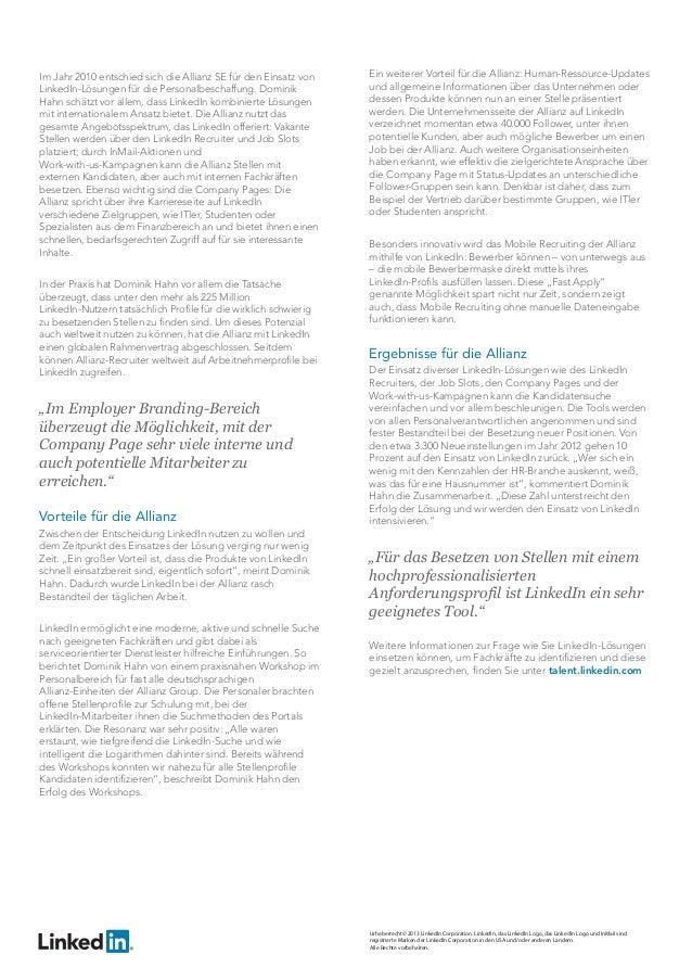 Fallstudie: LinkedIn liefert Rundumlösung für Personalbeschaffung bei der Allianz Slide 2