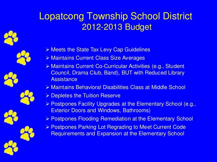 Lopatcong Township School District                2012-2013 Budget  Meets the State Tax Levy Cap Guidelines  Maintains C...