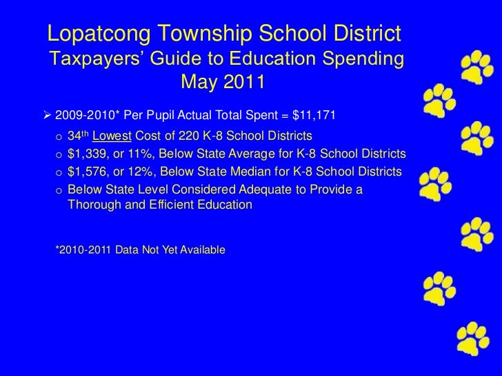 Lopatcong Township School District Taxpayers' Guide to Education Spending               May 2011 2009-2010* Per Pupil Act...