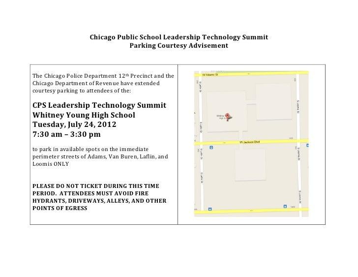 Chicago Public School Leadership Technology Summit                                              Parking Cour...