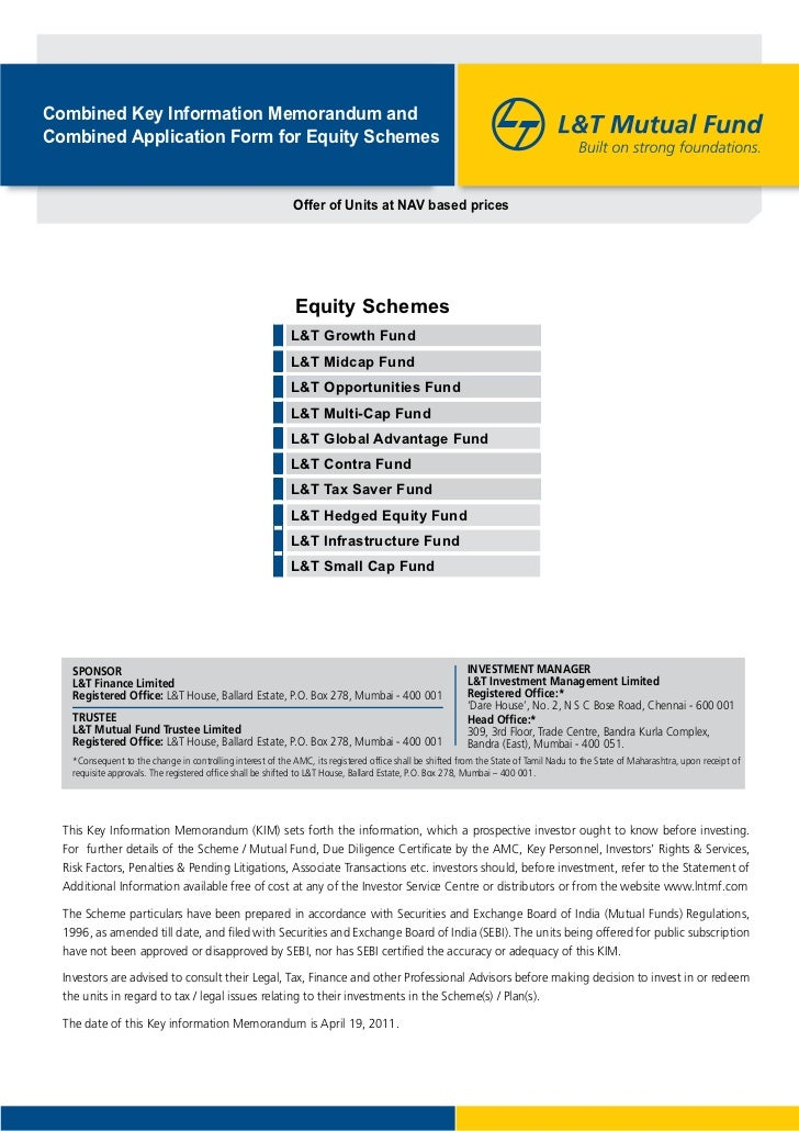 Combined Key Information Memorandum andCombined Application Form for Equity Schemes                                       ...