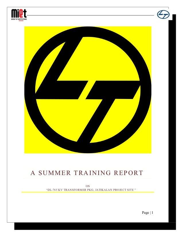 "A SUMMER TRAINING REPORT                         ON   ""DL-765 KV TRANSFORMER PKG, JATIKALAN PROJECT SITE ""                ..."