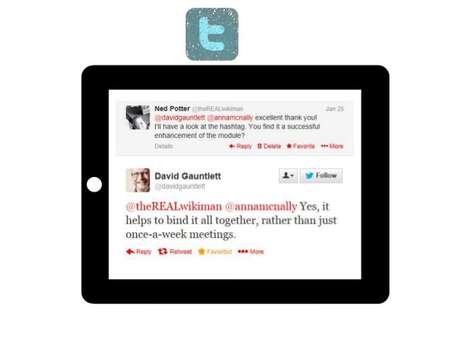 Tweetbeam.com Allows you to visualise tweets on a topic, in real-time, on big screens in the lab/seminar/lecture