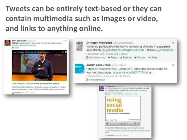 Tweets can be entirely text-based or they can contain multimedia such as images or video, and links to anything online.