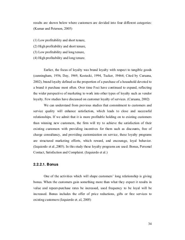 Thesis reports of marketing