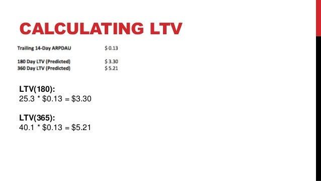 CALCULATING LTV  LTV(180): 25.3 * $0.13 = $3.30 LTV(365): 40.1 * $0.13 = $5.21
