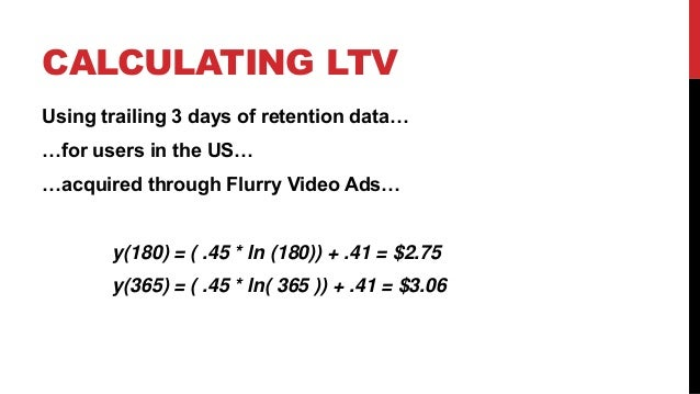 CALCULATING LTV Using trailing 3 days of retention data… …for users in the US… …acquired through Flurry Video Ads…  y(180)...