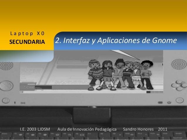 Laptop X0  SECUNDARIA  I.E. 2003 LJDSM  2. Interfaz y Aplicaciones de Gnome  Aula de Innovación Pedagógica  Sandro Honores...