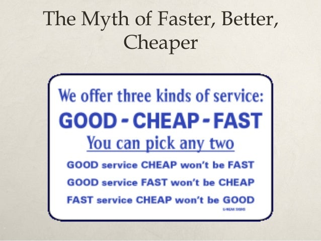 The Myth of Faster, Better, Cheaper Good FastCheap Bad?