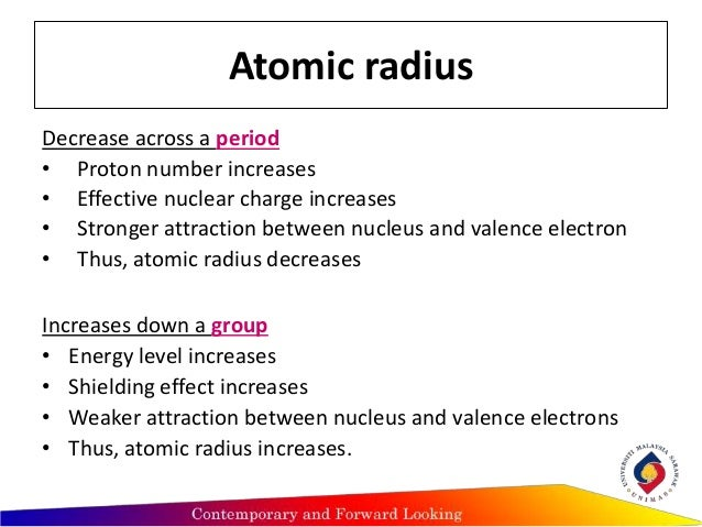 Trends of periodic atomic properties periodic table atomic radius decreases atomicradiusincreases 6 urtaz