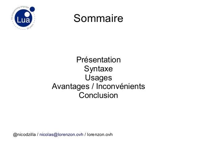 Introduction au langage de programmation Lua / Digital apéro [03/12/2014] Slide 2