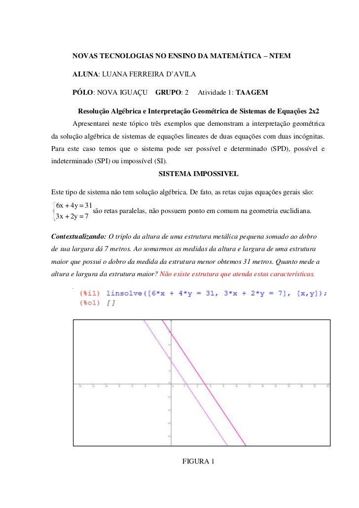 NOVAS TECNOLOGIAS NO ENSINO DA MATEMÁTICA – NTEM       ALUNA: LUANA FERREIRA D'AVILA       PÓLO: NOVA IGUAÇU            GR...