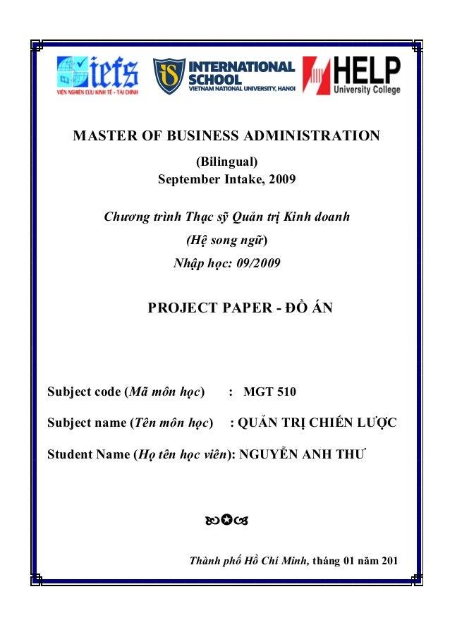 MASTER OF BUSINESS ADMINISTRATION                       (Bilingual)                 September Intake, 2009        Chương t...