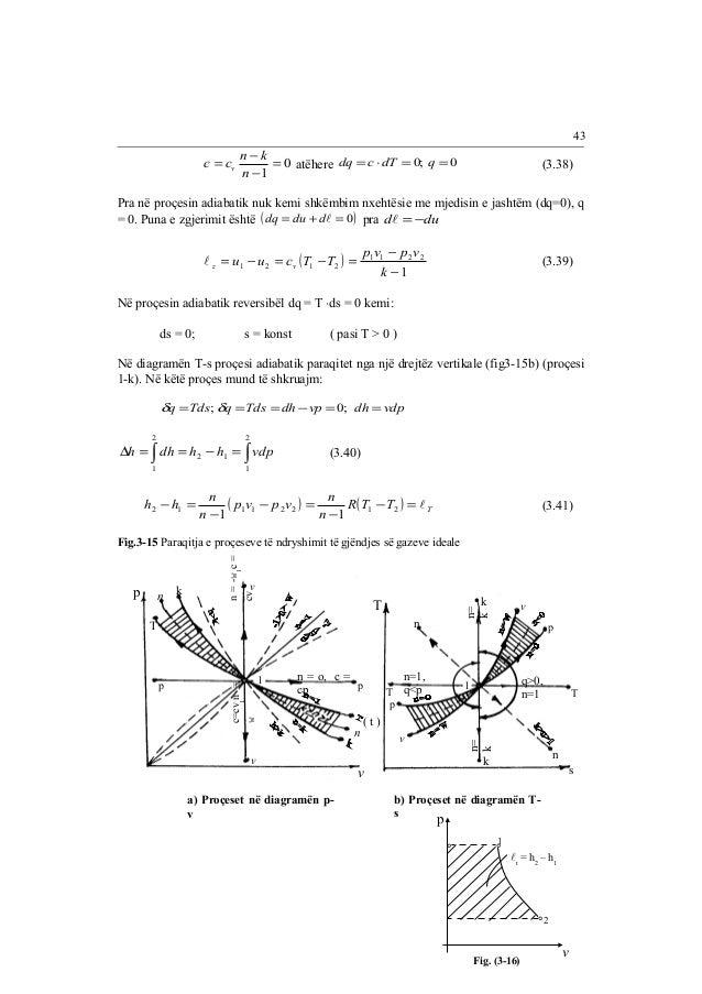 c c n k 0  atëhere dq =c ×dT =0; q =0 v (3.38)  1  =  = -  -  n  Pra në proçesin adiabatik nuk kemi shkëmbim nxehtësie me ...