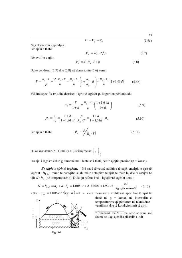 53  g a V =V +V (5.6a)  Nga ekuacioni i gjendjes:  Për ajrin e thatë:  V R T p g g = × (5.7)  Për avullin e ujit:  V d R T...