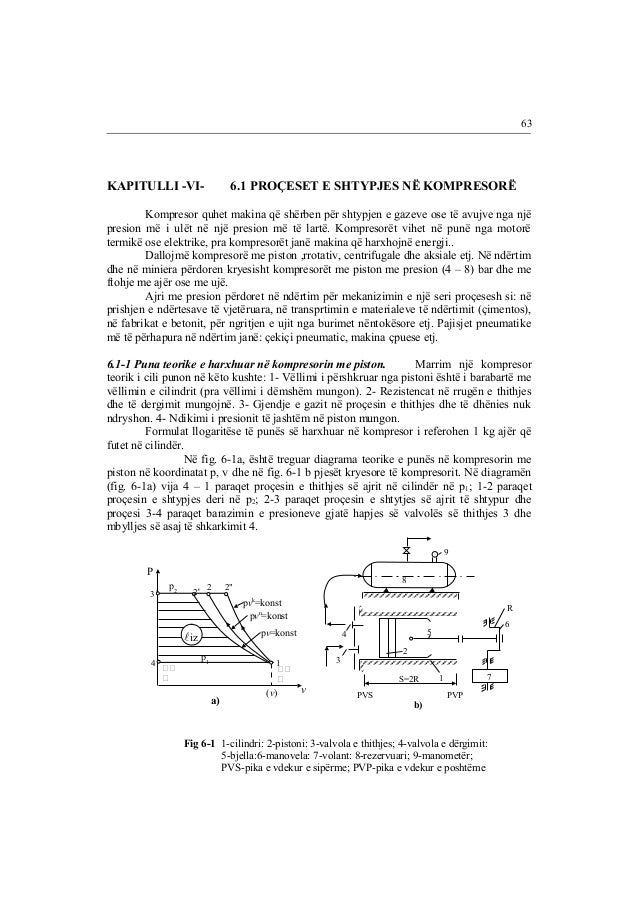 KAPITULLI -VI- 6.1 PROÇESET E SHTYPJES NË KOMPRESORË  Kompresor quhet makina që shërben për shtypjen e gazeve ose të avujv...
