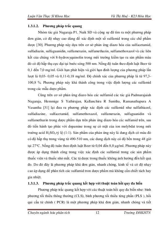 Luận Văn Thạc Sĩ Khoa Học Vũ Thị Huệ - K23 Hóa Học Chuyên ngành hóa phân tích 12 Trường ĐHKHTN 1.3.1.2. Phương pháp trắc q...