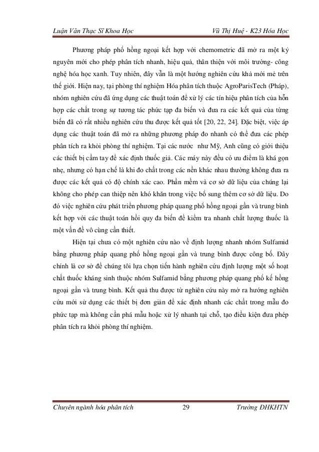 Luận Văn Thạc Sĩ Khoa Học Vũ Thị Huệ - K23 Hóa Học Chuyên ngành hóa phân tích 29 Trường ĐHKHTN Phương pháp phổ hồng ngoại ...