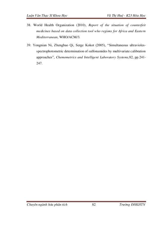 Luận văn: Định lượng hoạt chất thuốc kháng sinh nhóm Sulfamid