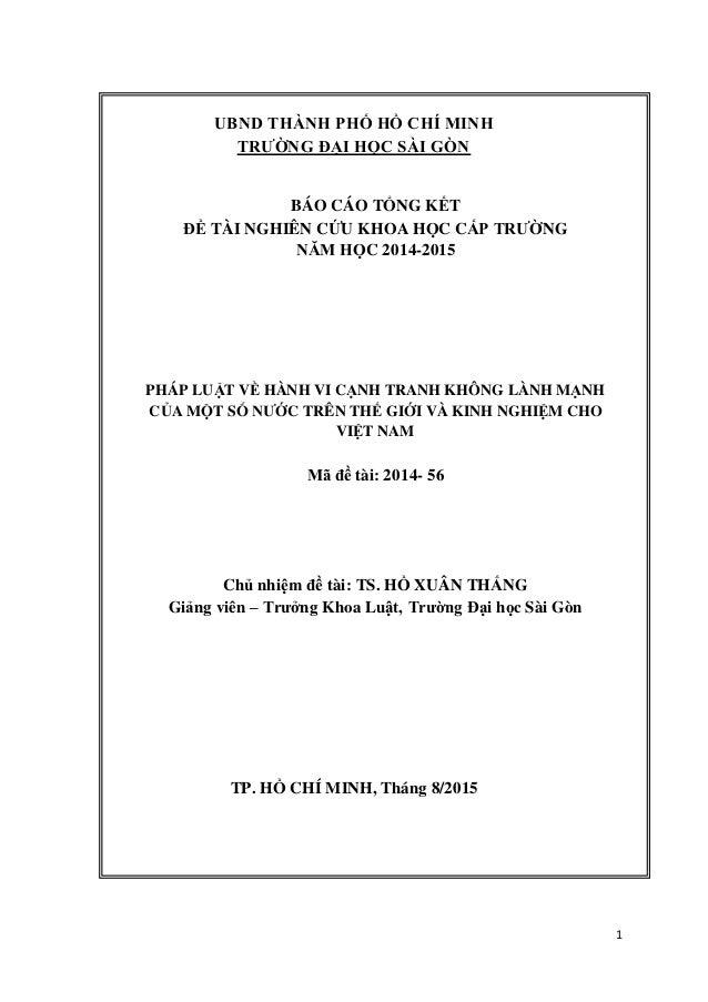 1 UBND THÀNH PHỐ HỒ CHÍ MINH TRƯỜNG ĐẠI HỌC SÀI GÒN BÁO CÁO TỔNG KẾT ĐỀ TÀI NGHIÊN CỨU KHOA HỌC CẤP TRƯỜNG NĂM HỌC 2014-20...