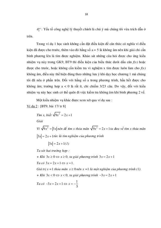 18 pt ltθ : Yếu tố công nghệ lý thuyết chính là chú ý mà chúng tôi vừa trích dẫn ở trên. Trong ví dụ 1 học sinh không cần ...