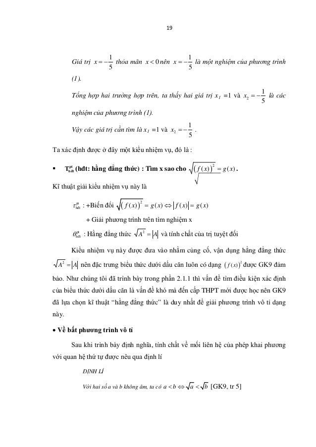 19 Giá trị 1 5 x = − thỏa mãn 0x < nên 1 5 x = − là một nghiệm của phương trình (1). Tổng hợp hai trường hợp trên, ta thấy...
