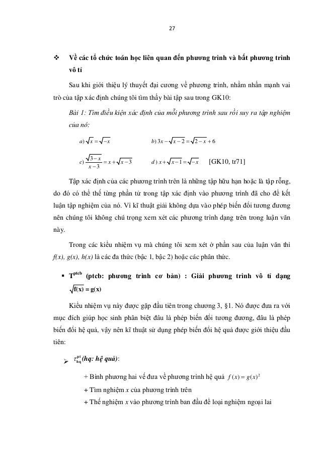 27  Về các tổ chức toán học liên quan đến phương trình và bất phương trình vô tỉ Sau khi giới thiệu lý thuyết đại cương v...