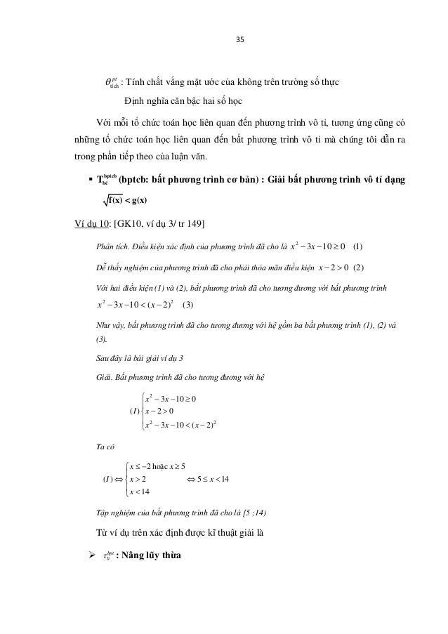 35 tích pt θ : Tính chất vắng mặt ước của không trên trường số thực Định nghĩa căn bậc hai số học Với mỗi tổ chức toán học...