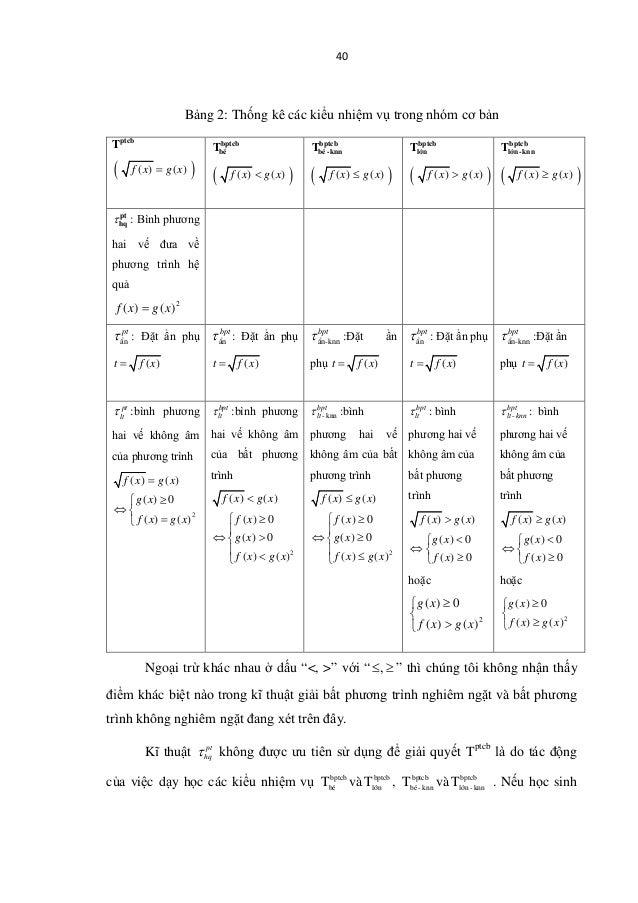 40 Bảng 2: Thống kê các kiểu nhiệm vụ trong nhóm cơ bản Tptcb ( )( ) ( )f x g x= bptcb béT ( )( ) ( )f x g x< bptcb bé -kn...