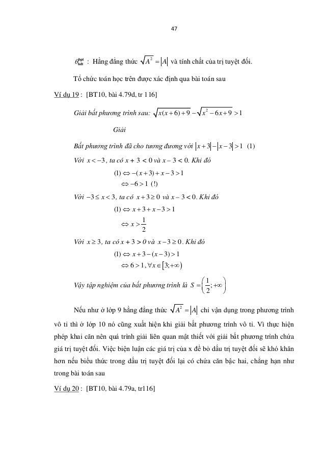 47 θbpt h®t : Hằng đẳng thức 2 A A= và tính chất của trị tuyệt đối. Tổ chức toán học trên được xác định qua bài toán sau V...