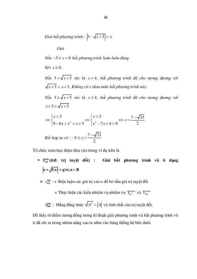 48 Giải bất phương trình : 3 5x x− + > Giải Nếu 5 0x− ≤ < bất phương trình luôn luôn đúng Xét 0x ≥ . Nếu 3 5x< + tức là 4x...