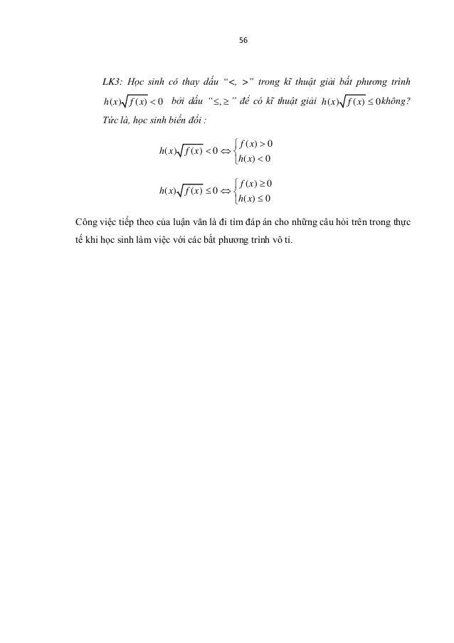 Luận văn: Dạy các phương trình và bất phương trình vô tỉ lớp 10
