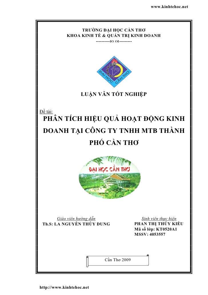 www.kinhtehoc.net                  TRƯỜNG ĐẠI HỌC CẦN THƠ             KHOA KINH TẾ & QUẢN TRỊ KINH DOANH                  ...