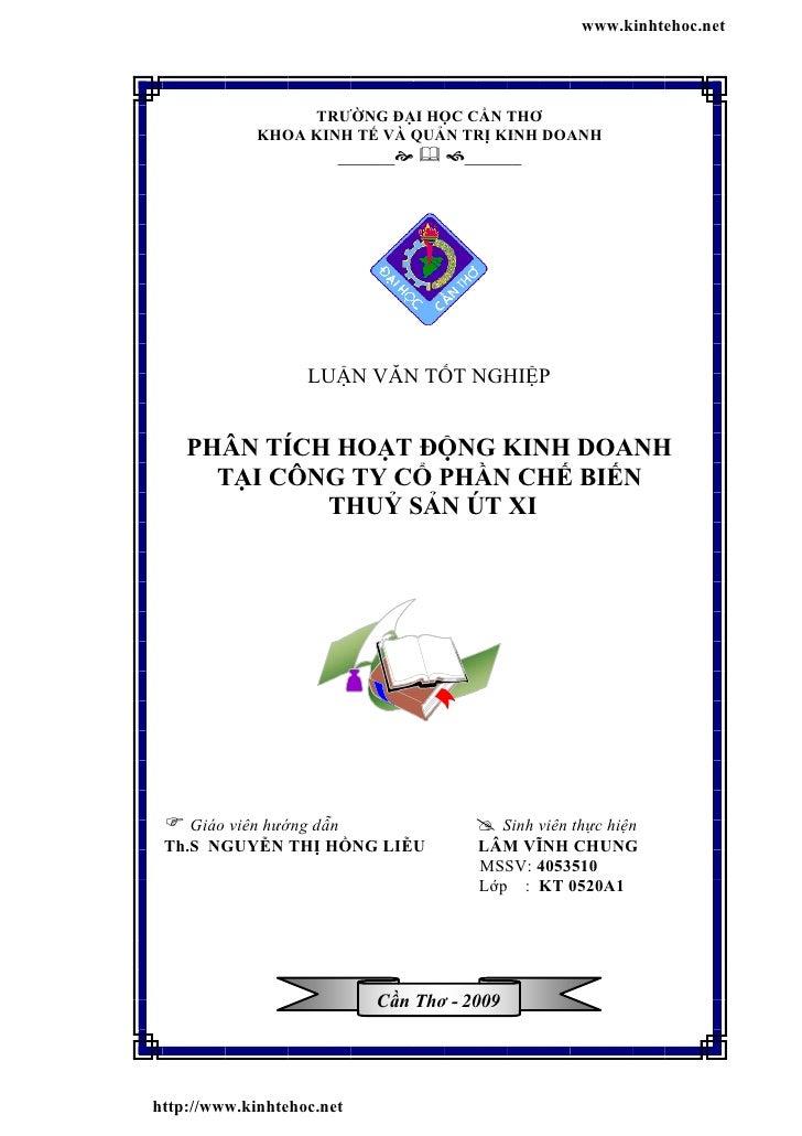 www.kinhtehoc.net                  TRƯỜNG ĐẠI HỌC CẦN THƠ             KHOA KINH TẾ VÀ QUẢN TRỊ KINH DOANH                 ...