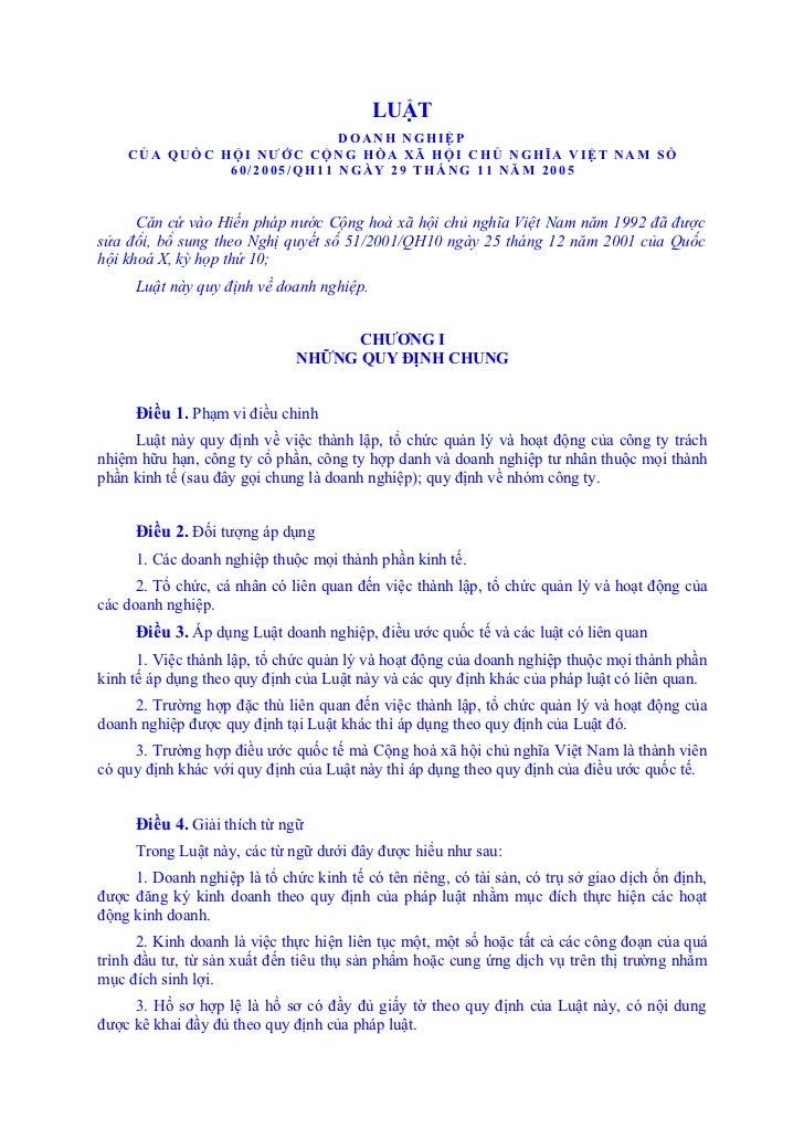 LUẬT                           DOANH NGHIỆP    CỦA QUỐC HỘI NƯỚC CỘNG HÒA XÃ HỘI CHỦ NGHĨA VIỆT NAM SỐ              60/200...