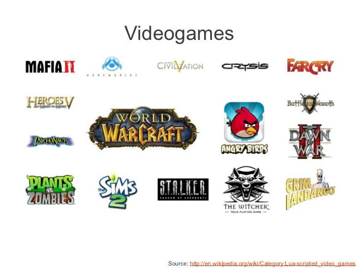 Videogames   Source: http://en.wikipedia.org/wiki/Category:Lua-scripted_video_games