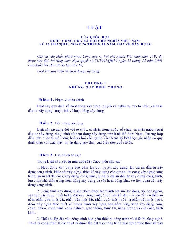 LUẬT                            CỦA QUỐC HỘI             NƯỚC CỘNG HOÀ XÃ HỘI CHỦ NGHĨA VIỆT NAM        SỐ 16/2003/QH11 NG...
