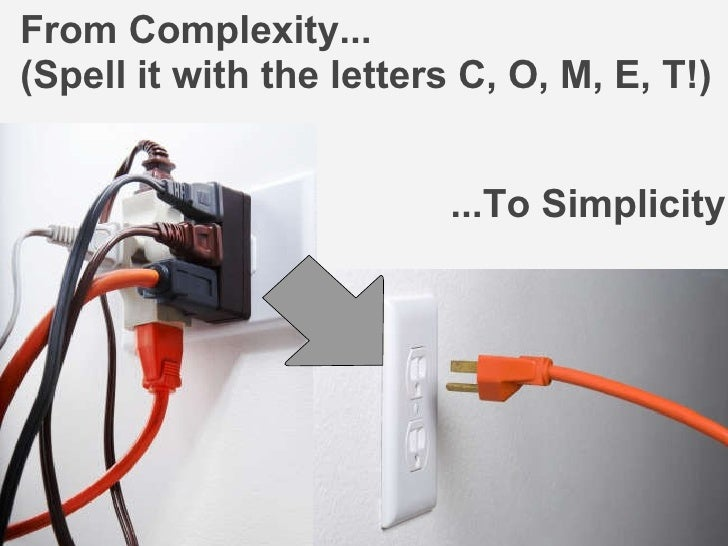 ...To Simplicity From Complexity... (Spell it with the letters C, O, M, E, T!)