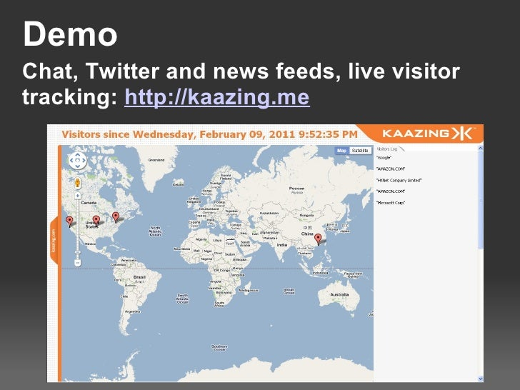 Demo Chat, Twitter and news feeds, live visitor tracking: http://kaazing.me