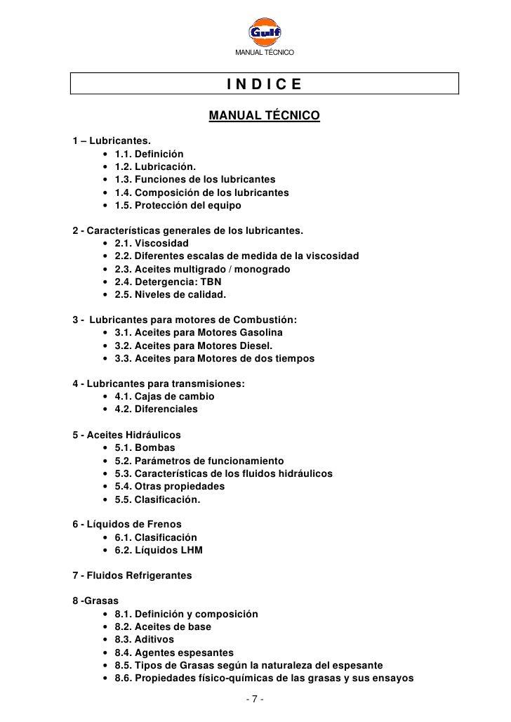 MANUAL TÉCNICO                                     INDICE                               MANUAL TÉCNICO  1 – Lubricantes.  ...