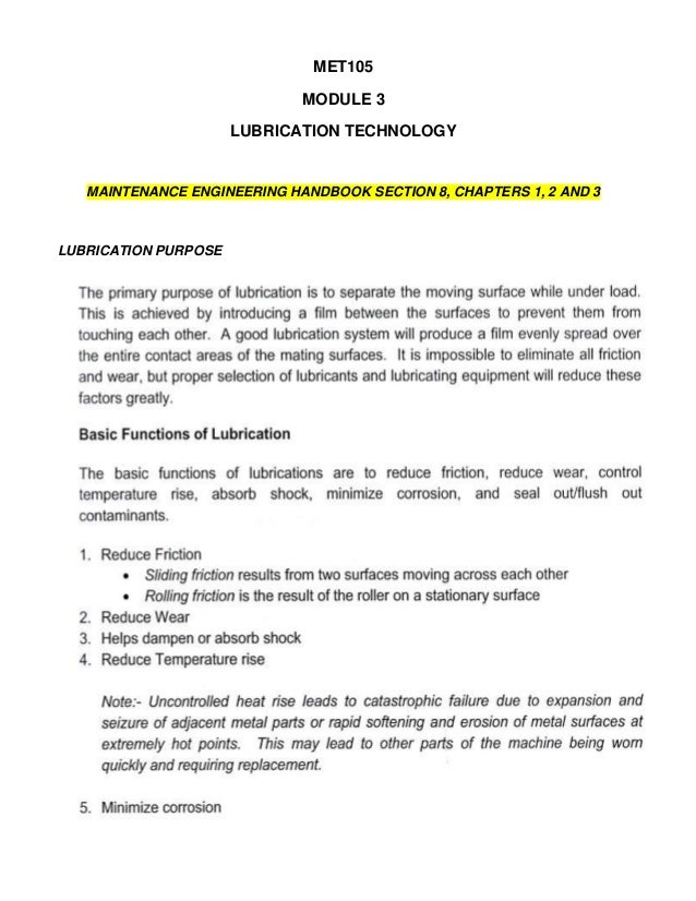 MET105                             MODULE 3                      LUBRICATION TECHNOLOGY   MAINTENANCE ENGINEERING HANDBOOK...