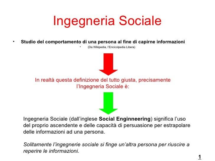 Ingegneria Sociale <ul><li>Studio del comportamento di una persona al fine di capirne informazioni  </li></ul><ul><li>(Da ...