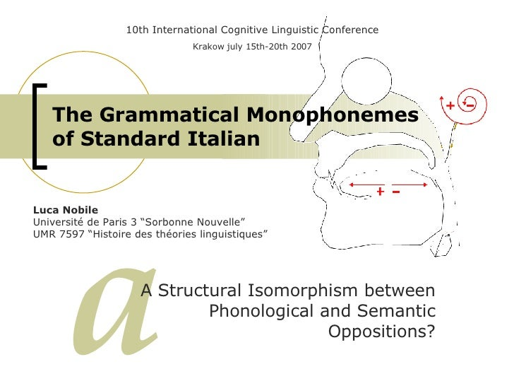 The Grammatical Monophonemes of Standard Italian A Structural Isomorphism between Phonological and Semantic Oppositions? a...