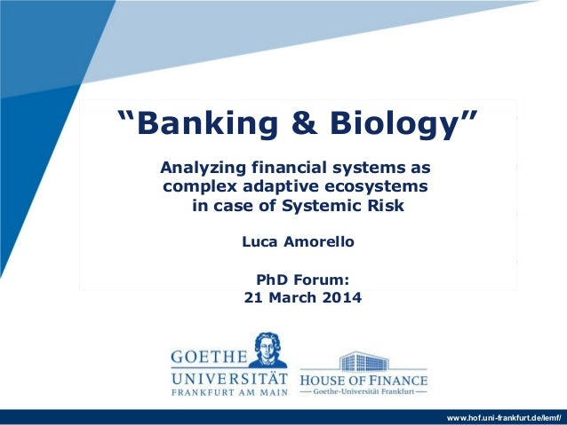"www.hof.uni-frankfurt.de/lemf/ ""Banking & Biology"" . Analyzing financial systems as complex adaptive ecosystems in case of..."