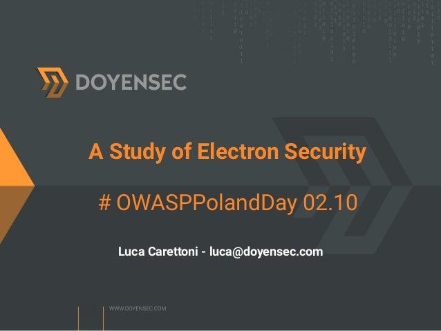 OWASP Poland Day] A study of Electron security