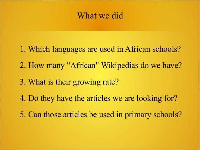 Luca Martinelli - Wikipedia and African languages used in primary education Slide 2