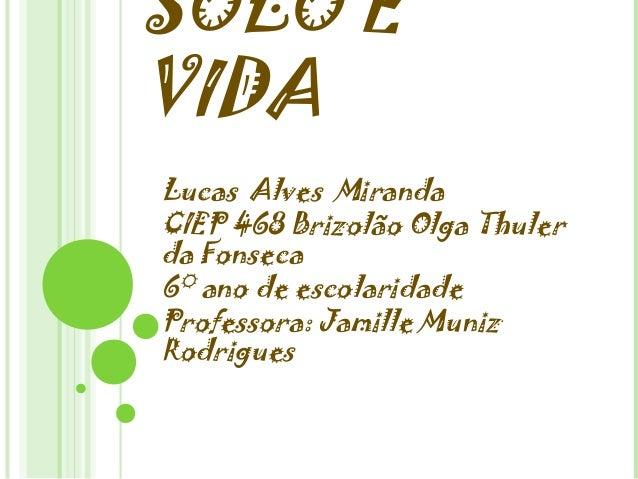 SOLO E VIDA Lucas Alves Miranda CIEP 468 Brizolão Olga Thuler da Fonseca 6° ano de escolaridade Professora: Jamille Muniz ...